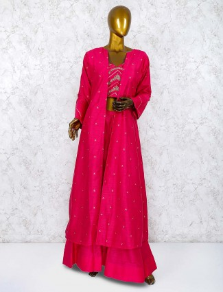 Raw silk fabric magenta hue jacket style palazzo suit