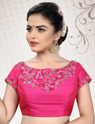 Raw silk fabric magenta ready made blouse