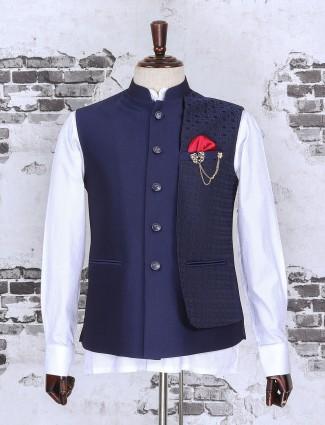 Raw silk fabric navy color waistcoat set