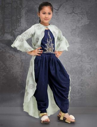 Raw silk fabric navy punjabi dhoti suit