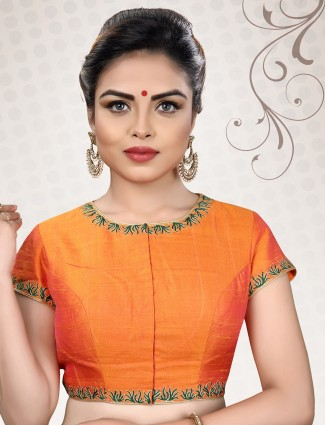 Raw silk fabric orange color ready made blouse