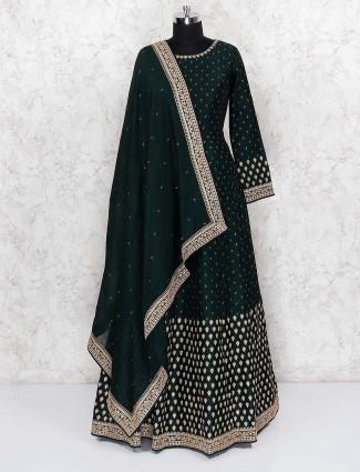 Raw silk green color floor length anarkali salwar suit
