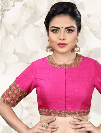 Raw silk magenta color ready made blouse