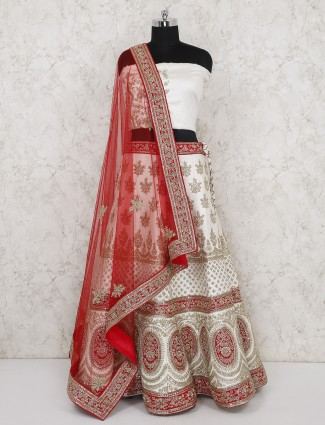 Raw silk off white bridal semi stitched lehenga choli