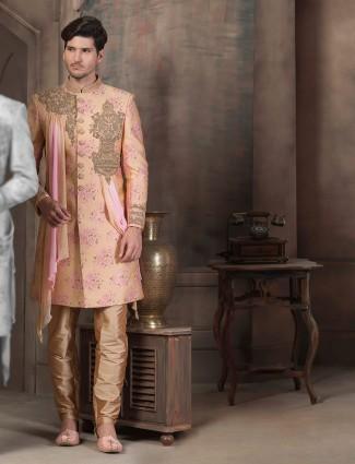 Raw silk peach color designer indo western for wedding