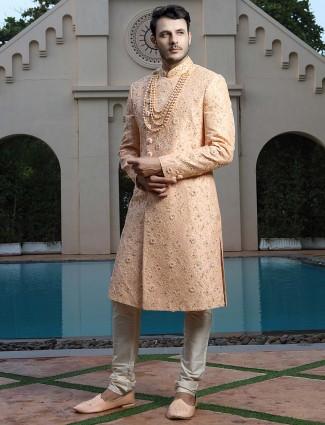 Raw silk peach color stand collar sherwani