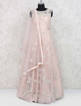 Raw silk peach hued wedding gown