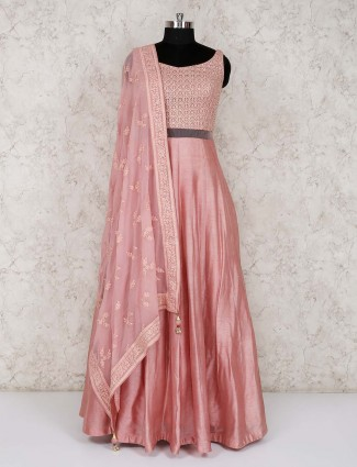 Raw silk pink floor length anarkali suit for party