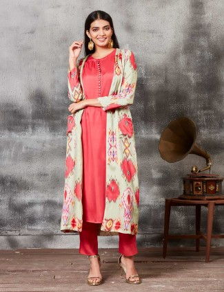 Raw silk printed red punjabi salwar suit with jacket