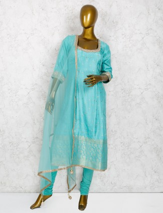 Raw silk punjabi salwar suit in aqua