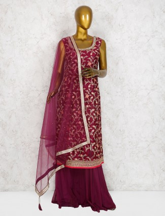 Raw silk purple party wear sharara suit