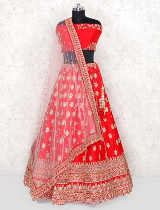 Raw silk red color pretty semi stitched lehenga choli