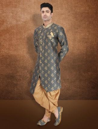Raw silk semi indo western in grey