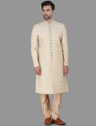 Raw silk wedding wear cream sherwani