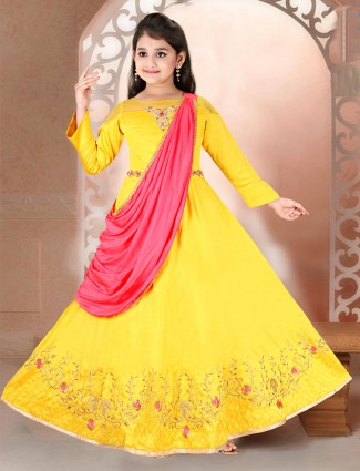 Raw silk yellow colored anarkali suit for party