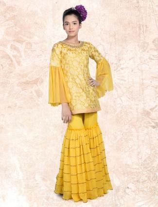 Raw silk yellow festive punjabi palazzo suit