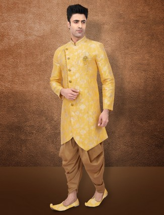 Raw silk yellow wedding semi indo western