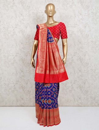 Red abd blue patola silk wedding saree