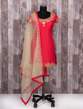 Red and beige color palazzo suit
