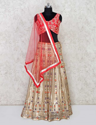 Red and beige net wedding lehenga choli