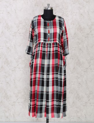 Red and black check long kurti