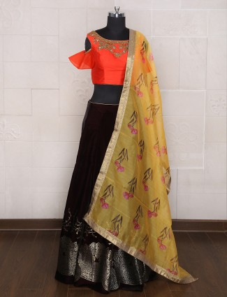 Red and black lehenga choli