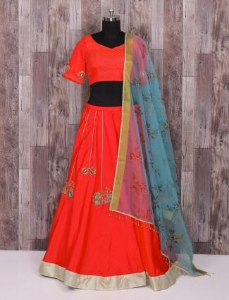 Red and blue silk lehenga choli