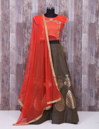Red and brown silk lehenga choli