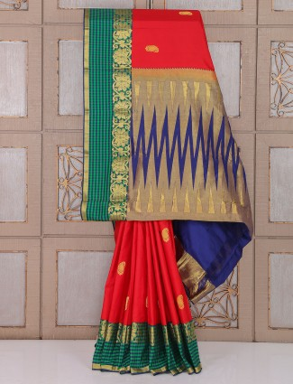 Red and green silk wedding amazing saree