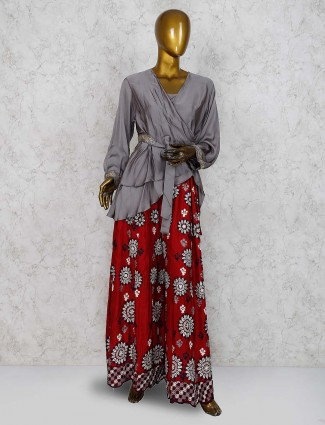 Red and grey hue cotton indo western palazzo suit