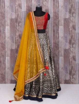 Red and grey silk lehenga choli