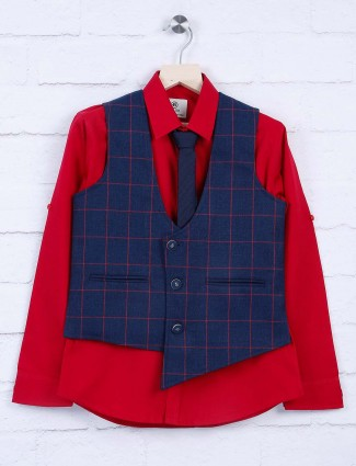 Red and navy hue terry rayon waistcoat