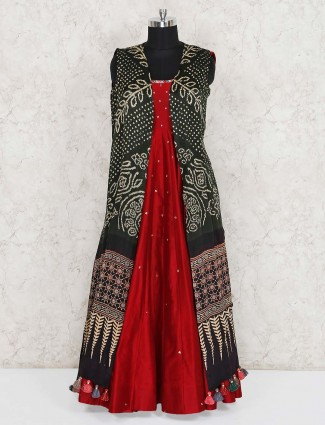 Red and olive cotton silk jacket style anarkali suit