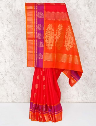 Red and orange saree for wedding