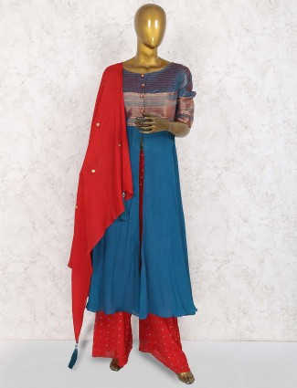 Teal green and red georgette punjabi palazzo suit