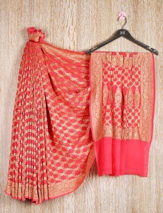 Red bandhani saree wedding wear