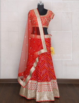Red bandhej printed wedding wear unstitched lehenga choli