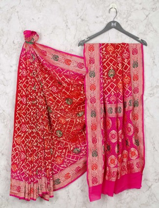 Red bandhej wedding saree design