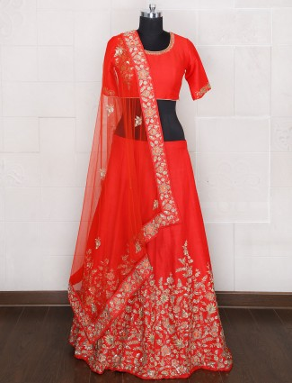 Red bridal wear silk unstitched lehenga choli