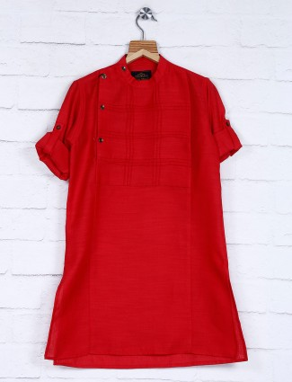Red color cotton festive boys kurta