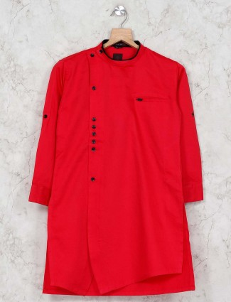 Red color festive wear kurta suit