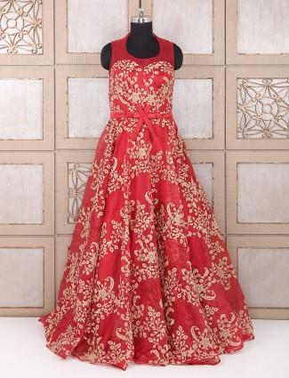 Red color georgette wedding wear anarkali suit
