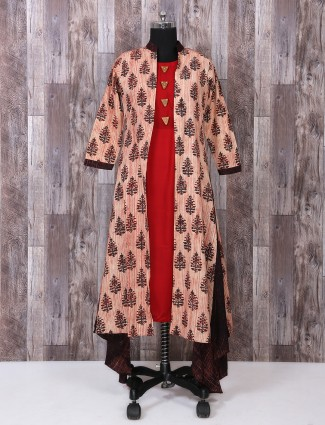 Red color jacket style salwar suit