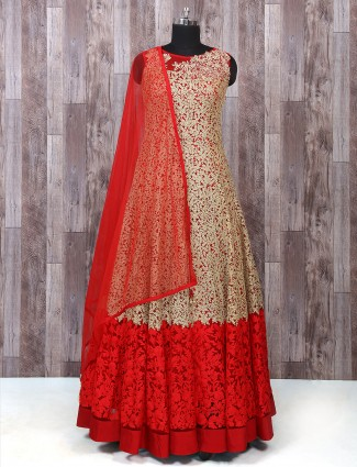 Red color net fabric anarkali suit