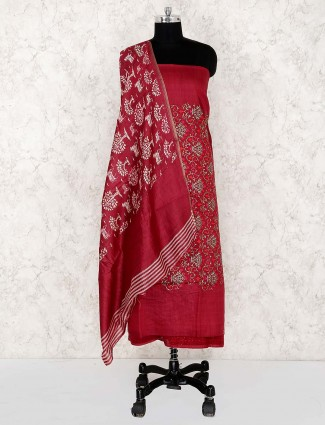 Red color punjabi unstitched dress material in cotton