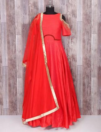 Red color silk anarkali wedding suit