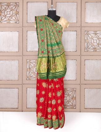 Red color silk bridal wear saree