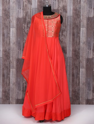 Red color silk festive anarkali suit