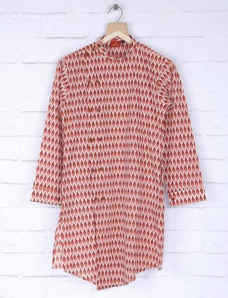 Red colored cotton fabric kurta suit