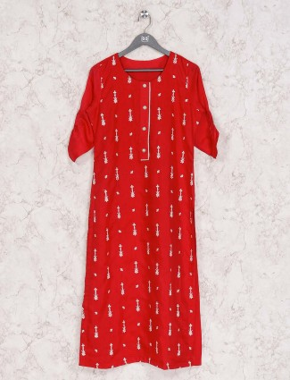 Red cotton casual wear tunic